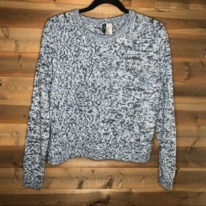 H&M Divided Blue & White Marbled Pullover Sweater